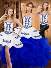 Exquisite Floor Length Blue Quince Ball Gowns Strapless Sleeveless Lace Up