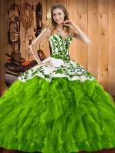 Wonderful Sleeveless Lace Up Floor Length Embroidery and Ruffles 15 Quinceanera Dress