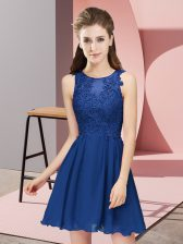 Super Blue Scoop Neckline Appliques Dama Dress for Quinceanera Sleeveless Zipper