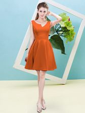 Orange Red Satin Zipper Quinceanera Court Dresses Sleeveless Mini Length Ruching
