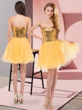 Gold A-line Tulle Sweetheart Sleeveless Sequins Mini Length Zipper