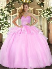 Pink Ball Gowns Sweetheart Sleeveless Organza Floor Length Lace Up Beading and Ruffles Quinceanera Gown