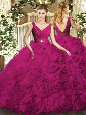 Nice Beading Sweet 16 Dress Fuchsia Backless Sleeveless Floor Length