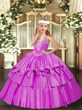 Inexpensive Lilac Sleeveless Organza Lace Up Pageant Dress for Womens for Party and Quinceanera