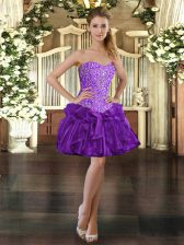 Great Purple Sleeveless Beading and Ruffles Mini Length Dress for Prom