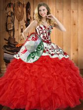 Attractive Red Sweetheart Neckline Embroidery and Ruffles Quinceanera Dresses Sleeveless Lace Up
