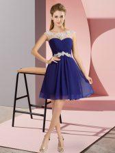 Fantastic Royal Blue Cap Sleeves Beading Mini Length Evening Dress