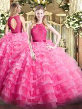 Adorable Floor Length Ball Gowns Sleeveless Hot Pink Sweet 16 Quinceanera Dress Zipper