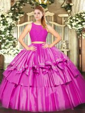 Simple Tulle Sleeveless Floor Length Quinceanera Dresses and Ruffled Layers