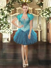 Dramatic Sleeveless Organza Mini Length Lace Up Prom Dresses in Teal with Beading and Ruffles