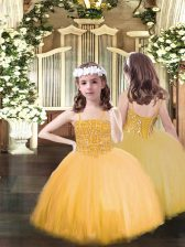 Latest Spaghetti Straps Sleeveless Tulle Girls Pageant Dresses Beading Lace Up