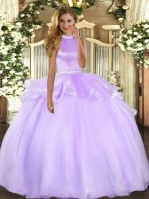 Most Popular Lavender Backless Halter Top Beading and Ruffles 15 Quinceanera Dress Tulle Sleeveless
