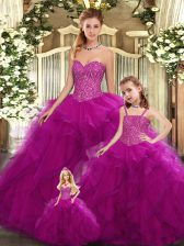 Perfect Fuchsia Ball Gowns Beading and Ruffles 15th Birthday Dress Lace Up Organza Sleeveless Floor Length