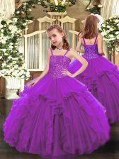Floor Length Purple Little Girls Pageant Dress Wholesale Organza Sleeveless Beading and Ruffles