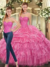 Ideal Rose Pink Two Pieces Organza Sweetheart Sleeveless Beading and Ruffles Floor Length Lace Up Sweet 16 Dress