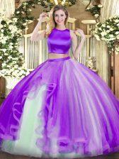 High-neck Sleeveless Quinceanera Dress Floor Length Ruffles Purple Tulle