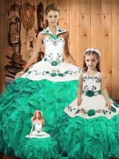 Fancy Floor Length Green Quinceanera Gowns Tulle Sleeveless Embroidery and Ruffles