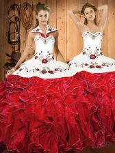 White And Red Ball Gowns Embroidery and Ruffles 15th Birthday Dress Lace Up Satin and Organza Sleeveless Floor Length