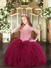 Wine Red Sleeveless Tulle Lace Up Kids Formal Wear for Party and Quinceanera