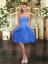 Blue Lace Up Sweetheart Beading and Ruffles Prom Dress Tulle Sleeveless