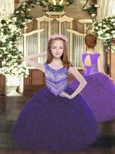 Great Sleeveless Lace Up Floor Length Beading and Ruffles Winning Pageant Gowns