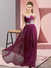 Hot Sale Dark Purple Empire Chiffon Sweetheart Sleeveless Appliques Floor Length Lace Up Prom Dresses