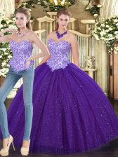 Fabulous Tulle Sweetheart Sleeveless Lace Up Beading Quince Ball Gowns in Purple