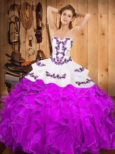 Exceptional Sleeveless Embroidery and Ruffles Lace Up Sweet 16 Dress