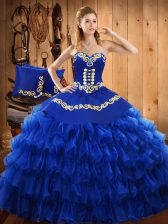 Extravagant Floor Length Lace Up 15th Birthday Dress Blue for Military Ball and Sweet 16 and Quinceanera with Embroidery and Ruffled Layers