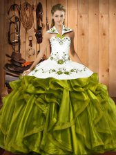 Custom Fit Ball Gowns 15 Quinceanera Dress Olive Green Halter Top Satin and Organza Sleeveless Floor Length Lace Up