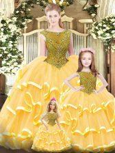 Beautiful Floor Length Gold 15th Birthday Dress Organza Sleeveless Beading and Ruffled Layers