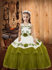 Trendy Straps Sleeveless Organza Little Girls Pageant Gowns Embroidery and Ruffled Layers Lace Up