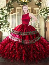 Dazzling Sleeveless Satin and Organza Floor Length Clasp Handle Vestidos de Quinceanera in Wine Red with Ruffled Layers
