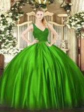 Taffeta Sleeveless Floor Length Quinceanera Dresses and Beading