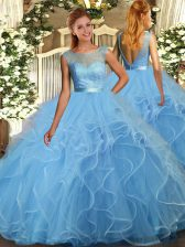 Clearance Baby Blue Ball Gowns Scoop Sleeveless Tulle Floor Length Backless Beading and Ruffles Ball Gown Prom Dress