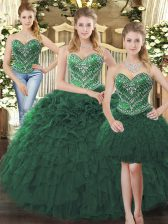 Charming Sweetheart Sleeveless Tulle 15 Quinceanera Dress Beading and Ruffles Lace Up