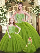 Sexy Olive Green Sleeveless Beading Floor Length Quinceanera Dress