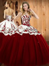Exceptional Sleeveless Floor Length Embroidery Lace Up Sweet 16 Dress with Wine Red