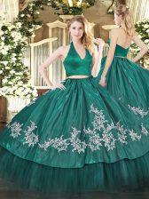 Ideal Taffeta Halter Top Sleeveless Zipper Appliques Quinceanera Dresses in Dark Green
