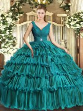 Nice Teal Sleeveless Floor Length Beading and Ruffled Layers Backless Quinceanera Gowns