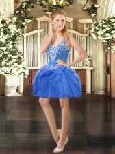 Suitable Baby Blue Ball Gowns Tulle Straps Sleeveless Beading and Ruffles Mini Length Lace Up Prom Gown
