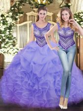 Customized Lavender Scoop Lace Up Beading and Ruffles Vestidos de Quinceanera Sleeveless