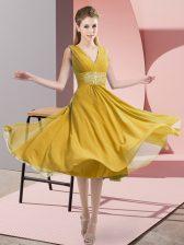 Chiffon V-neck Sleeveless Side Zipper Beading Court Dresses for Sweet 16 in Gold