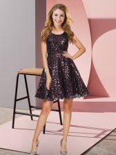 Wonderful Black Zipper Quinceanera Dama Dress Sequins Sleeveless Mini Length