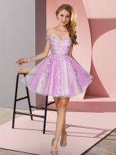 Appliques Court Dresses for Sweet 16 Lilac Zipper Sleeveless Mini Length