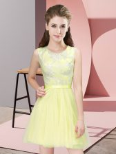 Yellow Side Zipper Quinceanera Court of Honor Dress Lace Sleeveless Mini Length