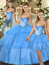 Glorious Baby Blue Lace Up Quinceanera Dress Beading and Ruffled Layers Sleeveless Floor Length