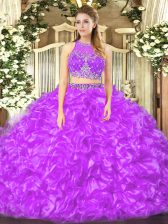 Floor Length Lilac Quinceanera Gowns Organza Sleeveless Beading and Ruffles