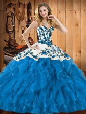 Sleeveless Tulle Floor Length Lace Up 15 Quinceanera Dress in Teal with Embroidery and Ruffles