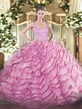 Flirting Rose Pink Sleeveless Brush Train Ruffled Layers Quinceanera Gown